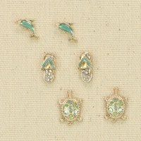 Set of 3 Gold and Green Coastal Earrings