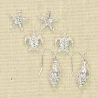 Set of 3 Silver Bling Sealife Earrings