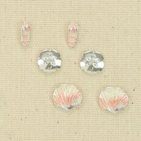 Set of 3 Silver and Pink Beach Earrings