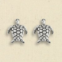 Antique Silver Finish Turtle Clip Earrings