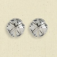 Antique Silver Finish Sand Dollar Clip Earrings