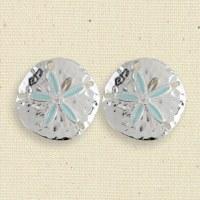 Silver and Aqua Sand Dollar Clip Earrings