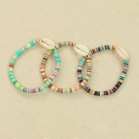 Multicolored Bead Cowrie Assortment of 3 Bracelets