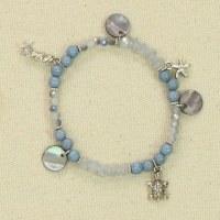 Blue Bead Silver Sealife Bracelet