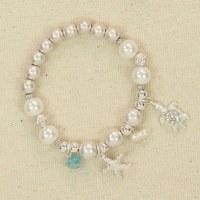 Silver Pearl Beads Sealife Bracelet