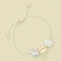 Silver Sand Dollar Cowrie Pull Bracelet