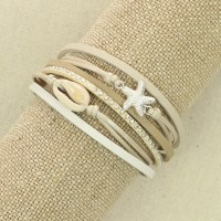 Starfish Cowrie Taupe 6 Band Bracelets