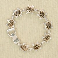 Silver and Gold Turtle Bracelet