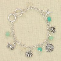 Silver Sealife With Green Beads Charm Bracelet