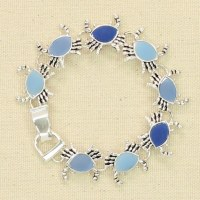 Silver and Blue Crab Bracelet
