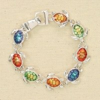 Silver and Multicolored Turtles Bracelet