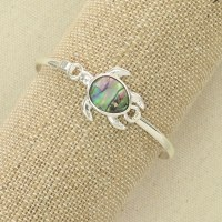 Silver and Abalone Turtle Bracelet
