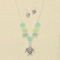 Antique Silver Finish With Blue and Green Beads Necklace and Earring Set