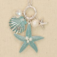 Silver and Blue Starfish With Pearls
