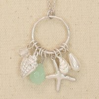 Silver Shell Charms On Hoop Necklace