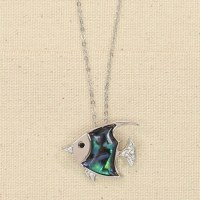 Silver Abalone Angelfish Necklace