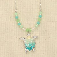Silver, Green and Blue Turtle Necklace