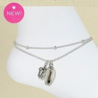 Silver Turtle Cowrie Anklet