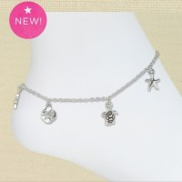 Silver Sealife Charms Anklet