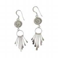 Sterling Silver Shiva Shell Circle With Fringe Earring