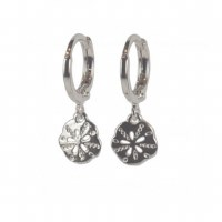 Silver Sand Dollar Huggie Earring