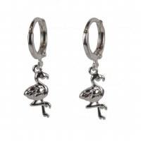 Silver Flamingo Huggie Earring