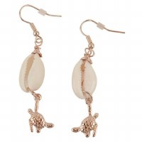 Gold Turtle Cowrie Earrings
