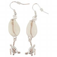 Silver Turtle Cowrie Earrings