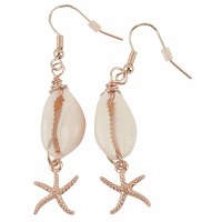 Gold Starfish Cowrie Earrings