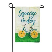 "18"" x 25"" Mini Squeeze The Day Lemon Bike Garden Flag"