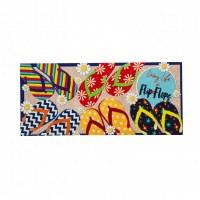 """10"""" x 22"""" Multicolored Flip Flop Sassafras Doormat"""