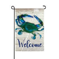 "12"" x 18"" Mini Blue Crab Welcome Garden Flag"