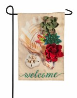 "18"" x 12"" Mini Shell Succulent Welcome Garden Flag"