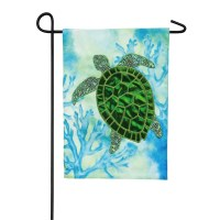 "18"" x 12"" Mini Green Turtle On Blue Garden Flag"
