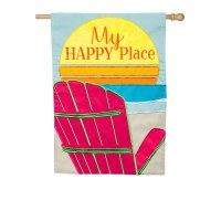 "44"" x 28"" My Happy Place Beach Chair Garden Beach"