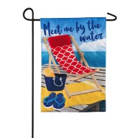 "18"" x 12"" Mini Meet Me By The Water Beach Scene Garden Flag"