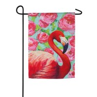 "18"" x 12"" Mini Floral Flamingo Garden Flag"