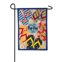 "44"" x 28"" Multicolored Living The Flip Flop Life Garden Flag"