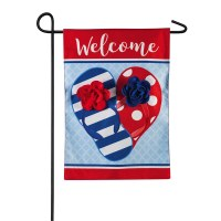 "18"" x 12"" Mini Red, White and Blue Welcome 3D Flip Flop Garden Flag"