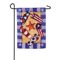 "18"" x 12"" Mini Red, White and Blue Flip Flop Garden Flag"