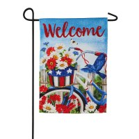 "44"" x 28"" Red, White and Blue Bike Garden Flag"