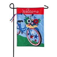 "18"" x 12"" Mini Red, White and Blue 3D Bike Garden Flag"