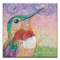 "5"" Square Encourage Hummingbird Canvas Print Card"