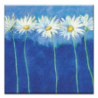 """5"""" Square Daisys On Blue Canvas Print Card"""