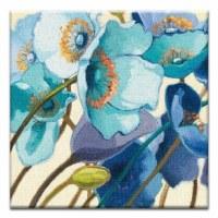 "5"" Square Blue Flowers Canvas Print Card"