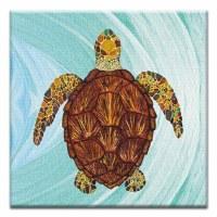 """5"""" Square Sea Turtle Canvas Print Card"""