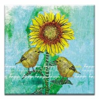 "5"" Square Happy Happy Happy Sunflower and Birds Canvas Print Card"
