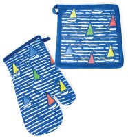 Set of Multicolored Boats On Blue Mitt and Potholder
