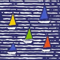 """5"""" Square Multicolored Boats On Blue Beverage Napkin"""