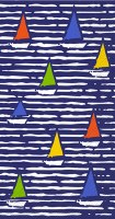 "8.5"" x 4.5"" Multicolored Boats On Blue Guest Towel"